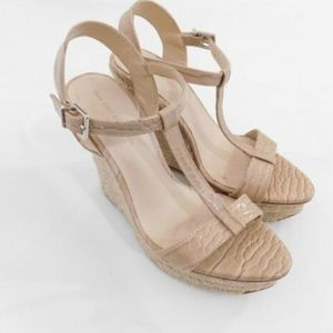 Zara Basic Collections Tan Nude Espadrilles Wedges